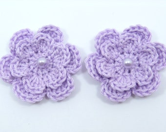 Crochet applique, 2 lilac two-layer crochet flowers. Cardmaking, scrapbooking, appliques, handmade, sew on patches embellishments