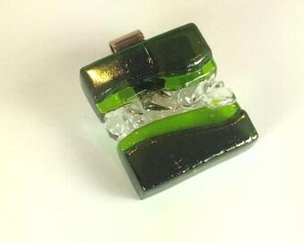 Art Glass Jewelry Dimensional Iridescent Green Hand Sculptured Pendant Artist Signed
