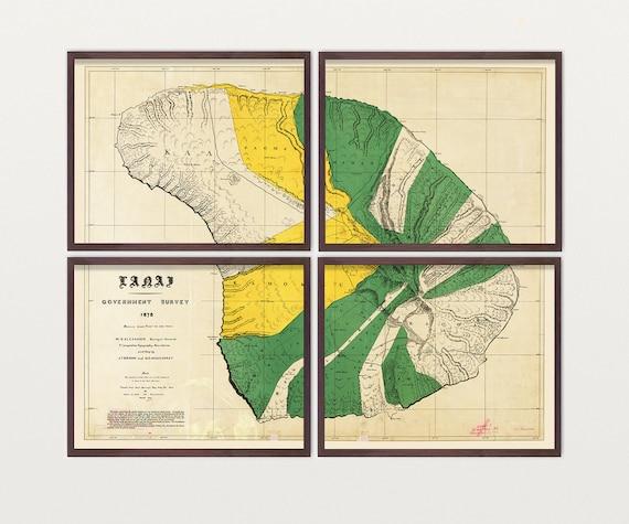 Lanai Map - Antique Map - Archival Reproduction - Hawaii Art - Hawaii Wall Art - State Map - Vintage Map - State Art - Hawaiian Art - Island
