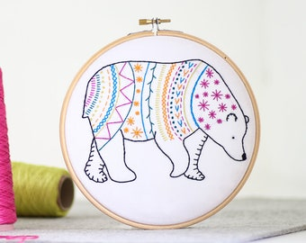 Bear Embroidery Kit - Embroidery Design - Nursery Decor - Hand Embroidery - Hoop Art - DIY Kit - Modern Embroidery - Adult Craft Kit