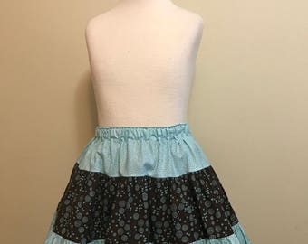 Girls ruffle  skirt size 4-6 in light blue and brown -- Ready to ship
