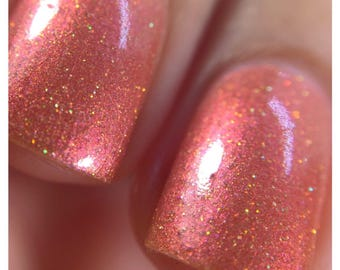 Wabi-Sabi Warm Orange Holographic Color Shifting Indie Nail Polish