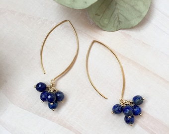 Faceted Blue Lapis Lazuli and Gold Cluster Earrings