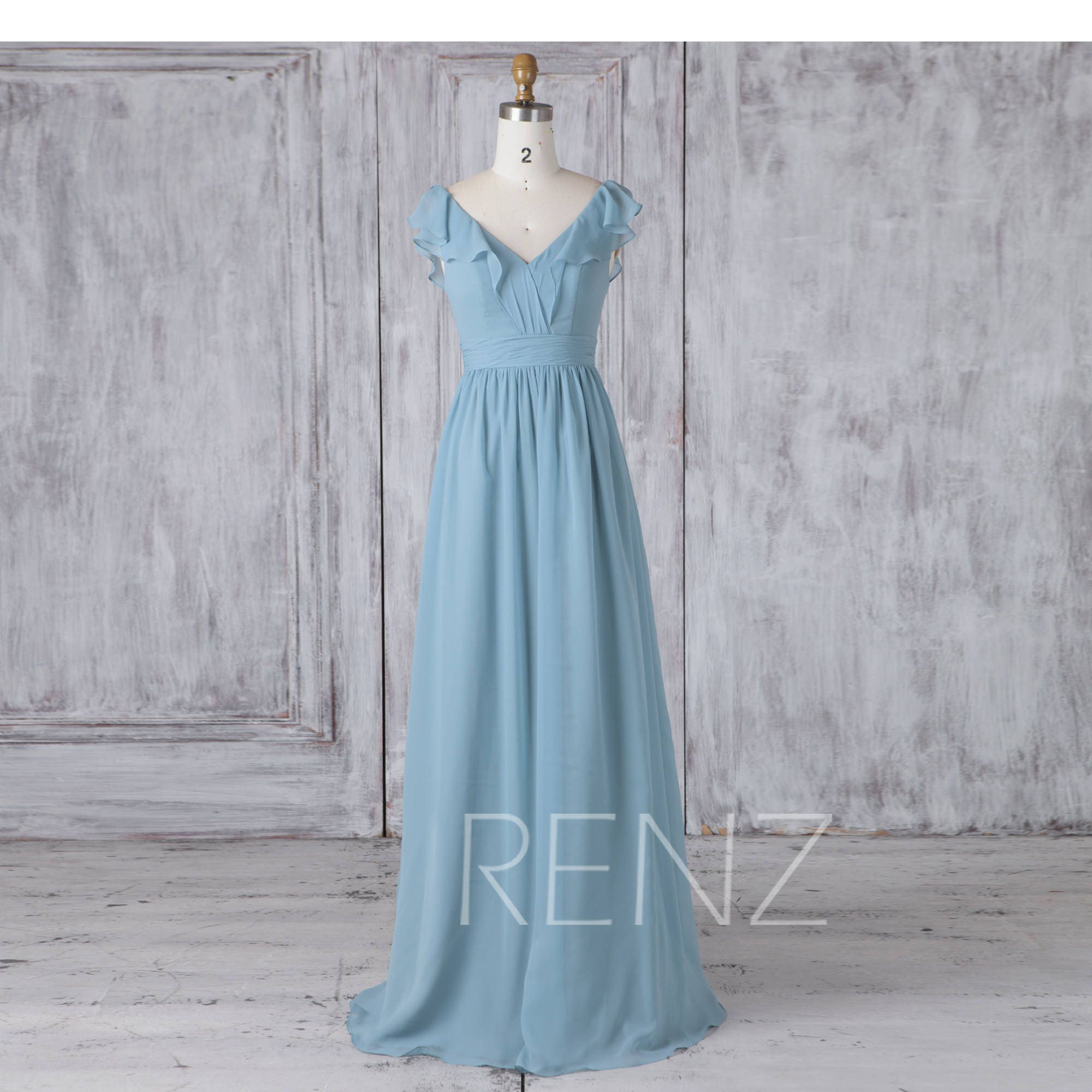 Bridesmaid Dress Dusty Blue ChiffonLong Wedding DressRuffle