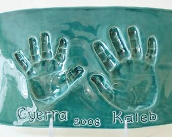 Sœur et frère Handprint Plaque - souvenir personnalisé de frères et soeurs - main impression--cadeau pour maman et papa - personnalisé estampes - cadeau pour maman