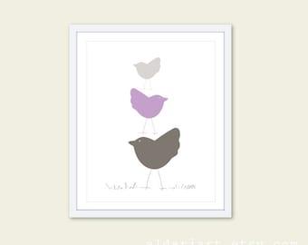 Nursery Birds Wall Art Print Three Birds in Lavender Purple Nursery Art Print - Baby Art Gift
