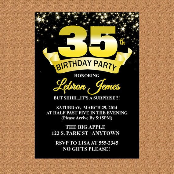 35th birthday invitation black and gold invitation milestone like this item filmwisefo Image collections