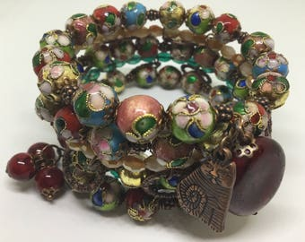 Copper Multi tiered memory wire bracelet.