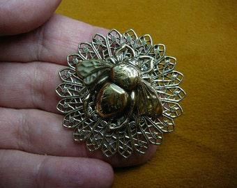 Bee bumble bees honey Insect bug bugs lover filigree brass pin pendant B-Bee-19
