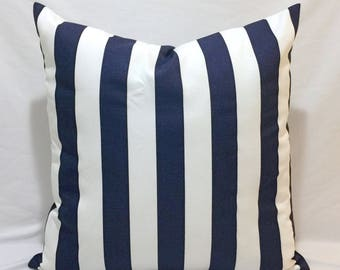 "Navy Blue and White Lulu Stripe Throw Pillowcase, Blue Striped Lumbar cover, 16x16"" and Many more"