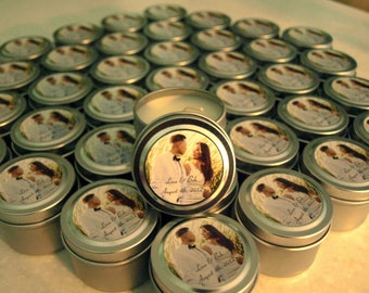 Wedding or Bridal Shower Favor Candles Travel Tin Gift Sample