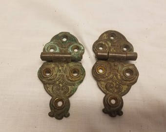 """Pair of antique brass Ice box hinges 4 1/2"""" x 2 inches wide"""