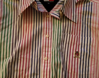 Vintage Tommy Hilfiger Size 10 Colorful Striped Dress Shirt Black Velvet Collar