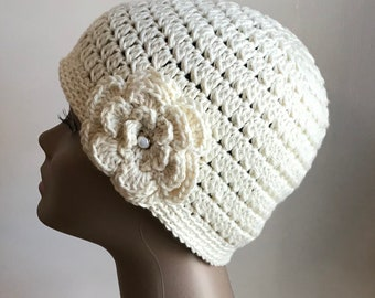 Women's crochet hat, summer / spring, COTTON, chemo hat, Ivory, removable flower, Ready to ship.  S17
