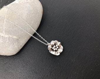 Sterling silver flower pendant  necklace - silver necklace, silver flower