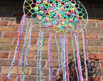 "Large Multi-Color Hanging Wall Art Essence of the Universal Tide 19"" Crochet and Braided Vibrant Boho One of a Kind Hippie Festival Decor"