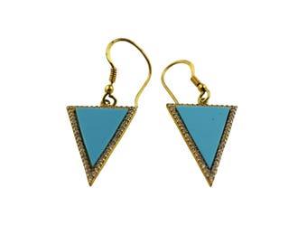 Maya J. Turquoise Triangle Earrings