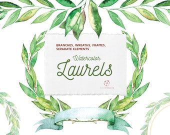 Watercolor Laurels | leaves | wreaths clipart | watercolour Laurels | hand painted | wedding graphics | invitations | frames | PNG | bouquet
