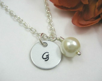 Ivory Pearl Bridesmaid Necklace. Flower Girl. initial Necklace. Bridesmaids Personalized. Pearl Necklace. Ivory. Pink. Grey. Purple.