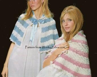 Vintage Crochet Shawls Cape or Bedjacket Pattern PDF 491 from WonkyZebra