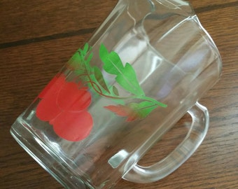 Vintage Glass Pitcher with Cherry Design, Heavy Glass Pitcher, Glass Pitcher with Cherry Design