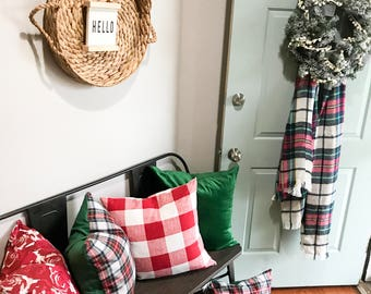 Limited Time Offer Tartan Plaid and Holiday Pillow Covers, Burberry Fabric Pillow, Plaid Pillow, Christmas Red and Green Pillow Cover