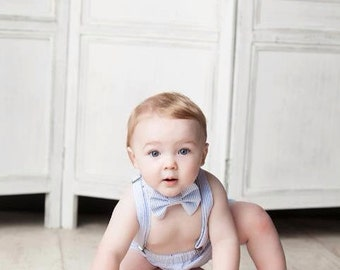 Cake Smash Outfit, Birthday Boy Outfit,  First Birthday, Bowtie, Suspenders, and Diaper Cover