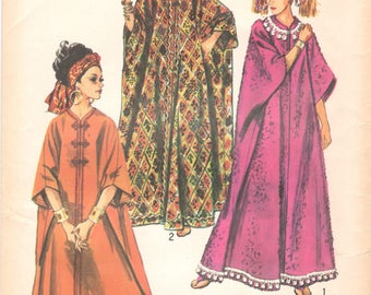 1960s Simplicity 8354 Misses Dramatic Zip Front Caftan Pattern Proportioned to Height Womens Vintage Sewing Pattern One Size UNCUT