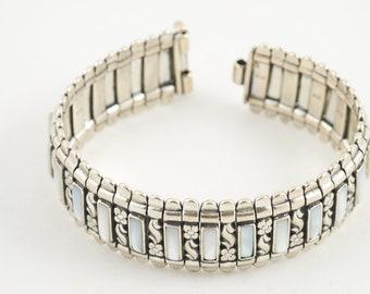 Handmade bracelet, Byzantine bracelet, Silver bracelet, Mother of pearl