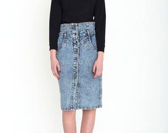 VINTAGE Blue High Waisted Bottom Retro Denim Skirt