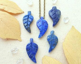 Lapis lazuli necklace leaf necklace genuine lapis lazuli third eye chakra carved cobalt blue gemstone lapis boho jewelry