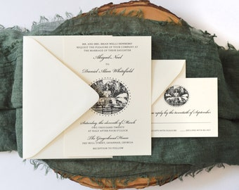 Savannah Forsyth Park Fountain - Elegant Wedding Invtiations - Invitation Suite - Southern Belle - Southern Wedding - Southern Charm