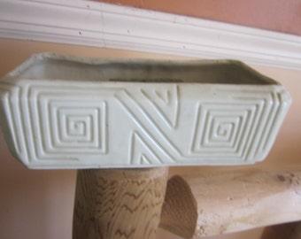 white pottery planter, vintage planters,,,pottery  planter