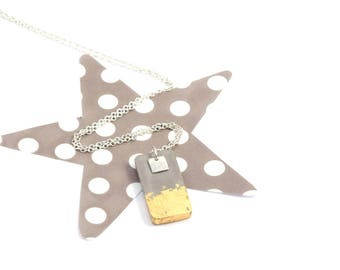 Gold concrete rectangle necklace