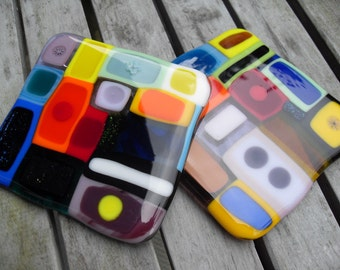 Very Colorful Fused glass coaster set of 2
