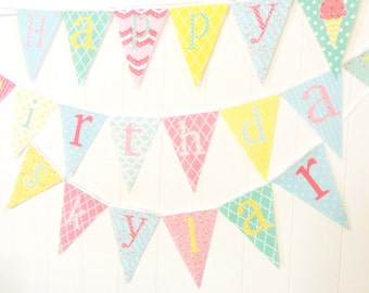 Shabby Chic Personalized Fabric Pennant Flags, Baby Name Banner, Photo Prop, Nursery Custom Letters, Baby Shower Name Banner
