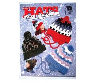 HATS FOR KIDS Crochet Patterns Annies Attic No. 87H55 Hats Toques Earflaps Ear Flaps Brim Pom poms Children Teens Tots Tykes Warm Crochet