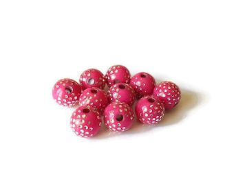 Pearl round fuchsia 8mm silver dotted