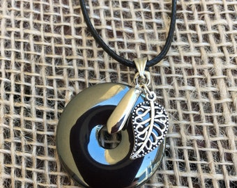 Hematite Donut 3 cm with 50cm faux leather necklace - impressive! comes in a Gift Box