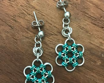 Chainmail Japanese Flower Emerald Earrings Stainless Steel