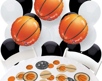 Nothin' But Net - Basketball Balloon and Confetti Kit -  Basketball Print Balloon Bouquet and Confetti Kit for a Party