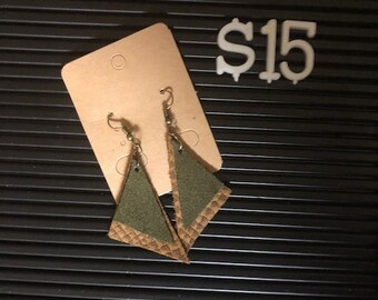 Two-tone Triangle Leather Earrings
