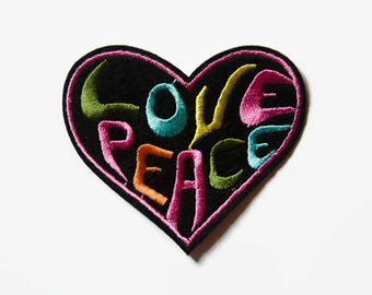 Hippie Patch - Love Peace Patch - Heart Patch - Iron on Patch Words - Embroidered Applique Heart - Hippy Patches and Applique