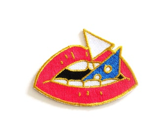 Loose Lips Sink Ships Patch, Lips Iron on patch, Embroidered Patch, Sew on Patch, Rock Cakes, Brighton