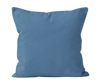 Blue Jean Pillow Cover, Solid Medium Blue Pillow Cover, Blue Jean Toss Pillow Cover, Blue Cushion Cover, Blue Throw Pillow Cover 18x18 _M