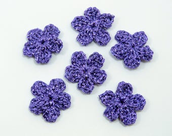 Crochet applique, Christmas appliques,  6 crochet flowers. Cardmaking, scrapbooking, appliques, handmade and sew on patches embellishments