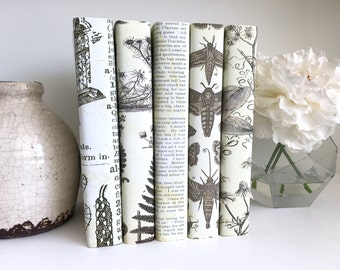 Interior design decorative books - Neutral books - Botanical art - Custom book covers - Custom book jackets - Bookshelf decor - Home Decor