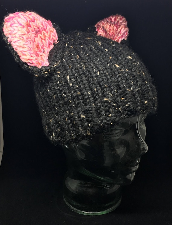 Hand knit black and white cat ears Pussy hat #resist