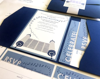 Torah Bar Mitzvah Invitation, Music Torah Bat Mitzvah Invitations, Navy Blue Pocketfold, Silver Grey Bellyband, Stickers, Addressed Envelope