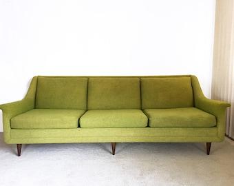 vintage mid century Danish modern long Selig sofa couch